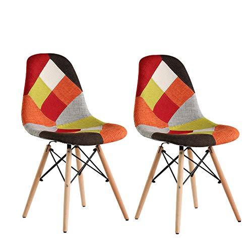 Patchwork Stuhl Stoff Retro 2 x Multicolor Eiffel Esszimmerstuhl Bürostuhl Vintage Stuhl mit Holzbein für Wohnzimmer Schlafzimmer Esszimmer Set Home Office Möbel (rot)