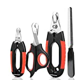KISSIN Dog Nail Clippers Trimmer Set - Quick Safety Guard to Avoid Overcutting 4-in-1 Stainless Steel Pet Nail Clippers - Start Professional & Safe Pet Grooming at Home