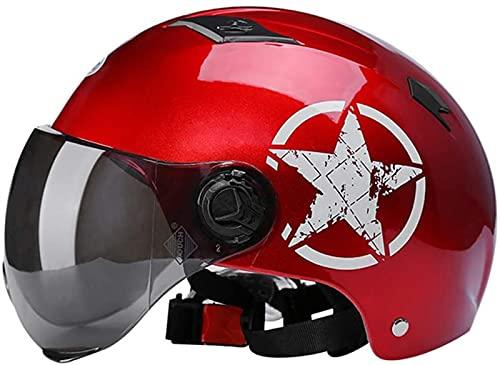 YCRCTC Offener Motorradhelm Jethelme Retro Halber Helm Mofa-Helm Bike Helm Mit Brille Schutzhelm Unisex Motorradhelm...