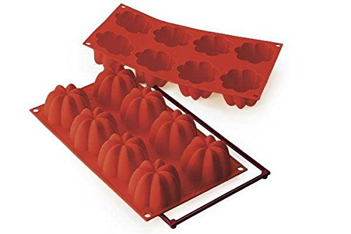 silikomart 26.154.00.0065 Moule Multicavité en Silicone Forme Charlotte, Rouge Brique, 5,5 x 17,5 x 31 cm