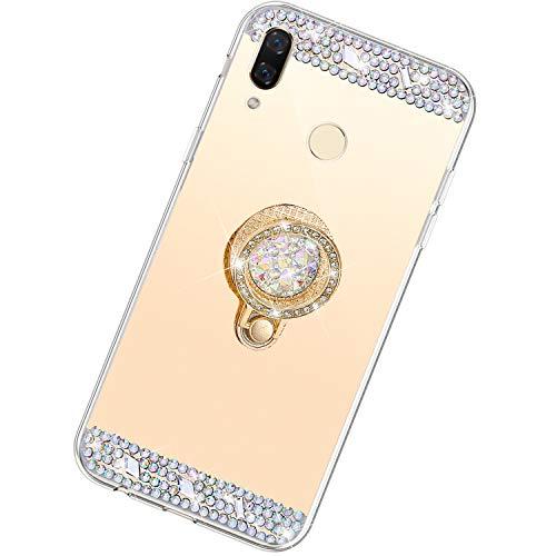 Funda Compatible con Huawei Nova 3i/P Smart Plus.Espejo Glitter Lujo Diamante Anillo Soporte Brillo TPU Transparente Silicona Suave Carcasa Cover Mirror Bling Moda Ultrafino Protective Bumper Case,Oro