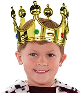 """Regal Jeweled Prince Crown Party Accessory, Gold, Plastic , 7"""" x 5"""""""