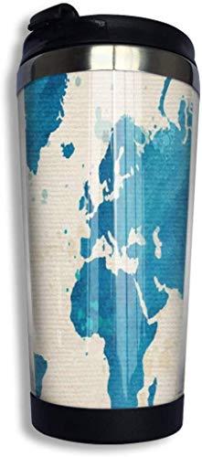 Yuanmeiju Vintage Weltkarte Wasserfarben alt Edelstahl Kaffeebecher Reisebecher Vakuum isoliert Kaffeebecher für Männer & Frauen Zuhause Büro Camping