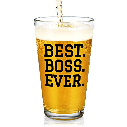 Boss Gifts - Best Boss Ever Beer Glass, Boss Pint Glass 15Oz - Great Gift for Men, Boss, Coworkers, Husband, Father, Brother - Gift Idea for Bosses Day, Birthday, Christmas, Retirement, Appreciation