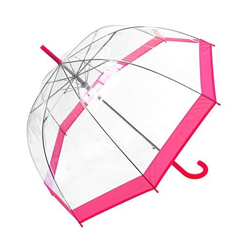 Susino Regenschirm, Glocke/Kuppel, transparent, für Damen – Automatisches Öffnungssystem – breiter Schutz mit Durchmesser 100 cm – winddicht – Rand Rosa