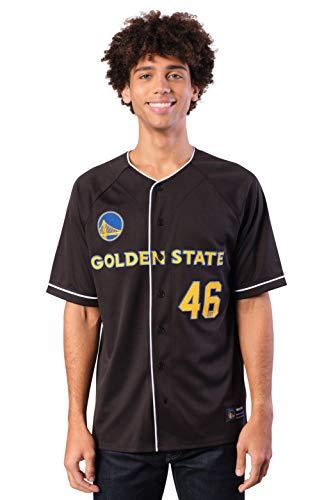 Ultra Game NBA Golden State Warriors Mens Mesh Button Down Baseball Jersey Tee Shirt, Black, Small