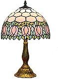 Tiffany - Lámpara de mesa estilo vintage pastoral, de cristal rojo y rosa antiguo, lámpara de escritorio para despacho, oficina, casa, bar, dormitorio, 19 pulgadas