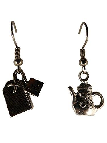Ohrringe Ohrhänger Hänger silberfarben Teebeutel und Teekanne Tee Beutel Frühstück 8671