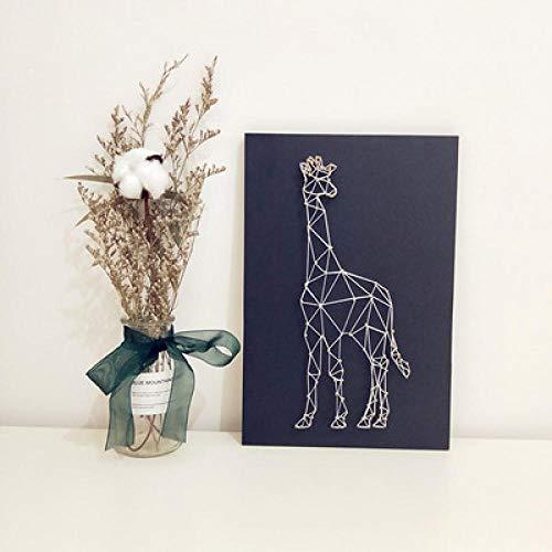 Giraffe driedimensionale garen schilderij eenvoudige string zijde schilderij frameloze ouder-kind diy wikkeling 20 * 30cm