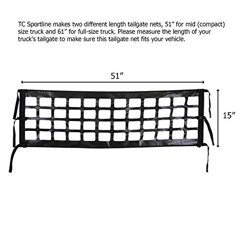 "TC Sportline TR-12 Tailgate Net 51"" x 15"" for Small Mid Compact Size Pick-Up Truck"
