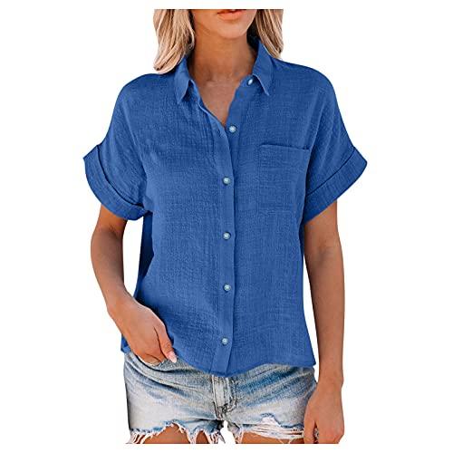BUDAA Damen-Sommerbluse, einfarbig, Baumwoll-Leinen, Knopfleiste mit Taschen, lose Bluse, Tops, Tunika, Tops, Basic Sommer-Shirts, blau, X-Large