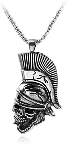 Collar para Mujeres Hombres Estilo Retro Punk Colgante de aleación para hombres Casco espartano Collar de cabeza de calavera Soldado de Roma Accesorios de joyería de moda para hombresCollar colgante