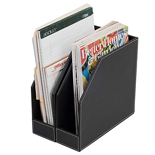 Executive PU Leather Vertical File Folder Holder & Office Product Organizer, Store Files, Magazines, Notepads, Books and more, 2 Pack Combo Set
