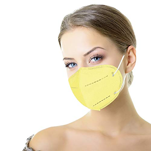 10Pcs Protective Face Mask 5 Layer Adults Daily Travel Protection Breathable Earloop Masks Against PM2.5, Individually Wrapped (YELLOW 10pcs)