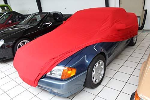AMS Vollgarage Mikrokontur® Rot mit Spiegeltaschen für Mercedes SL Cabriolet R129, schützende Autoabdeckung mit Perfekter Passform, hochwertige Abdeckplane als praktische Auto-Vollgarage