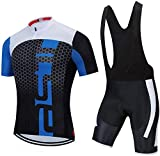 Conjunto de Maillot de Ciclismo de Secado rápido para Hombre Camiseta de Bicicleta de Carretera + Culotte con Tirantes con Kit de Ropa de Montar MTB Acolchado con Gel 3D (A XS)-mi_X-pequeño Uptod