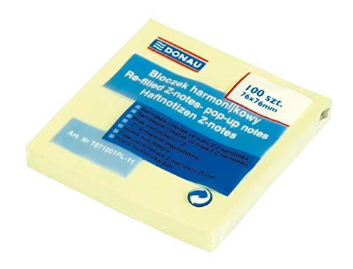 DONAU 7571001PL-11 Haftnotizen im Spender mit Z-Faltung, 76 x 76 mm, 1x100 Blatt, hellgelb