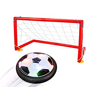 Joy-Jam Juguetes para Niños 5-10 años, Hover Ball Goal Set Air Soccer Fútbol Disco Electric Soccer con 2 Puertas Que se Ciernen Fútbol de Entrenamiento con Luces LED Negro