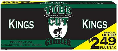 Gambler TubeCut Menthol King Size Pre-Priced RYO Cigarette Tubes 200ct Box (5 Boxes)