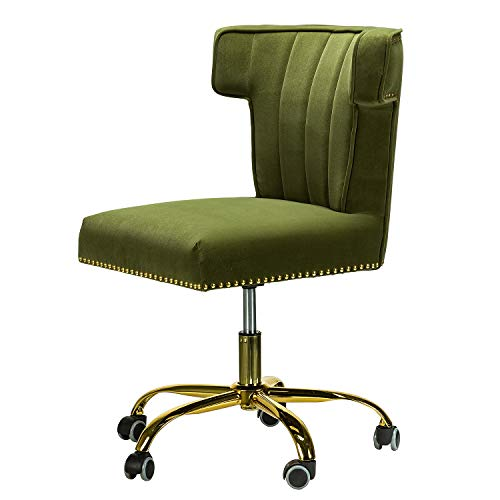 Alla Velvet Wingback Task Chair with Gold Base and Nailhead for Home Office-Moss
