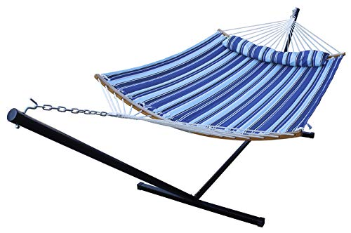 HENG FENG 2 Person Double Hammock with 12 Foot Portable Steel Stand and Curved Bamboo Spreader Bars, Detachable Pillow, Quilted Fabric Bed, Catalina Beach