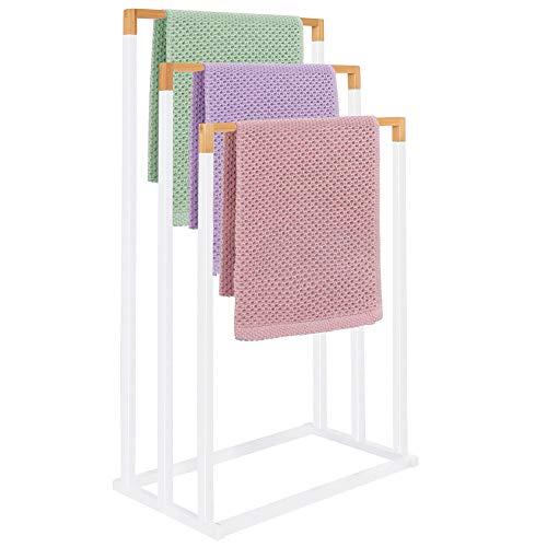 SPRINGOS Toallero de pie con 3 barras para toallas, para baño, accesorio de baño, para ropa, metal, bambú (blanco)