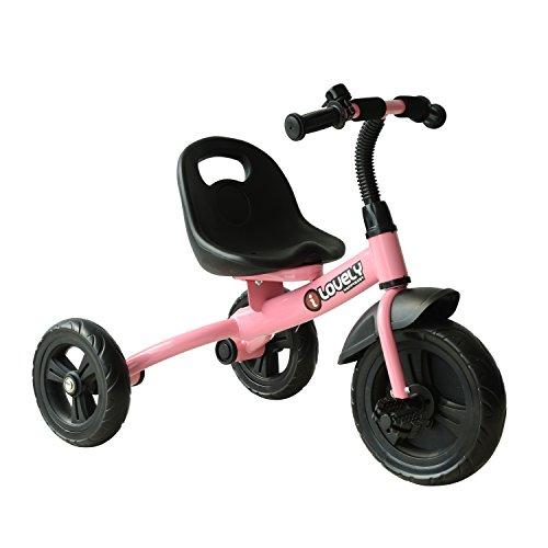 HOMCOM Triciclo para Niños más de 18 Meses con Timbre Guardabarros Rueda de Seguridad 74x49x55cm Rosa