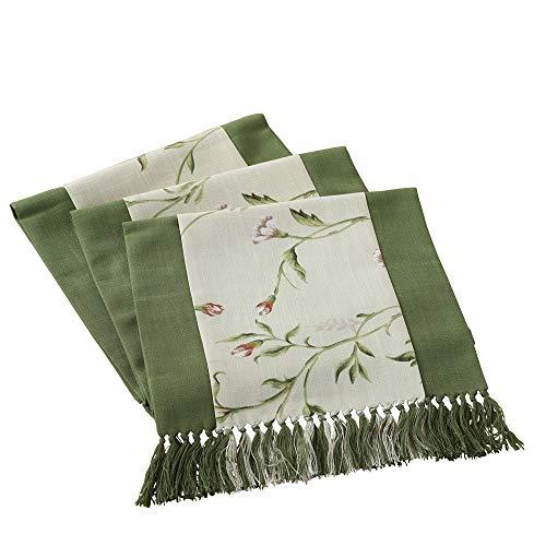 Goodvk Camino de Mesa Flores Bordadas algodón y Lino Camino de Mesa con borlas for cenas Familiares o reuniones Ambiente Cálido (Color : Verde, Size : 38x240cm)