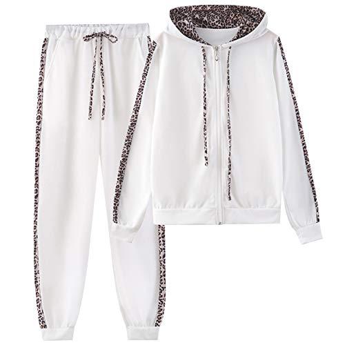 amropi Donna Tuta Sportiva Set Leopardato Maniche Lunghe Felpa con Cappuccio e Jogging Pantaloni (Bianco, XL)