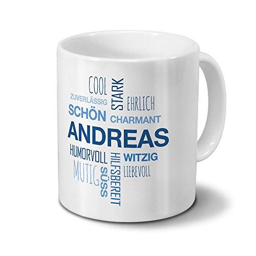 printplanet Tasse mit Namen Andreas Positive Eigenschaften Tagcloud - Blau - Namenstasse, Kaffeebecher, Mug, Becher, Kaffeetasse