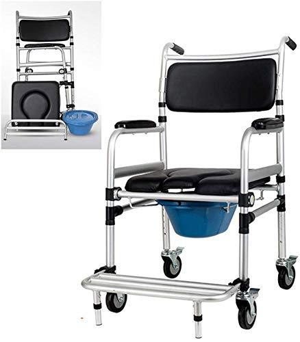 Rollstuhl, tragbarer Duschstuhl/Kommodenstuhl aus Aluminium, umklappbarer Toilettensitz, Rollen, Hindernisse für medizinische Hilfsmittel