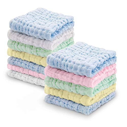 Viviland Baby Muslin Washcloths 12 Pack for Baby