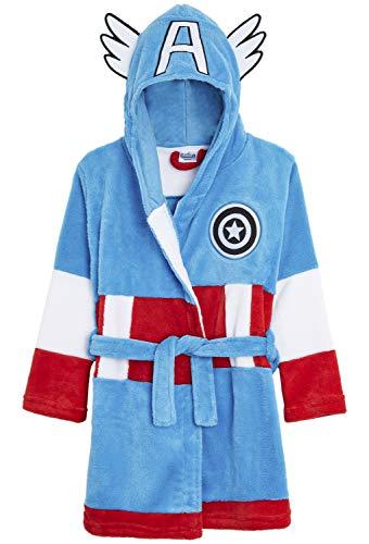 Marvel Robe de Chambre Polaire Enfant Super Héros Avengers Hulk et Captain America, Robes de Chambre Peignoir Polaire Garçon, Cadeaux Comics pour Enfants et Ados (13/14 Ans, Captain America)