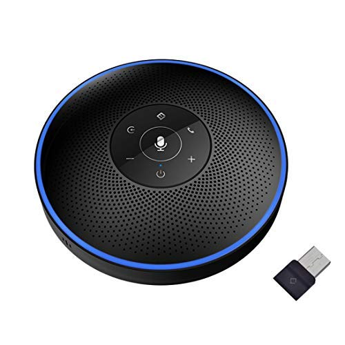 Conference Speakerphone - eMeet M2 Black Bluetooth Speaker for 5-8 People Business Conference Phone 360º Voice Pickup 4 AI Microphone Conference Call Speaker Skype, Webinar, Phone