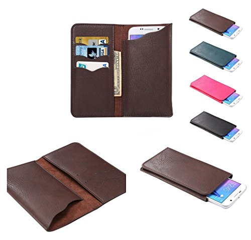 DFVmobile - Vertical Cover Premium PU Leather Case with Wallet & Card Slots for ZTE Blade V5 V993W (2014) - Brown