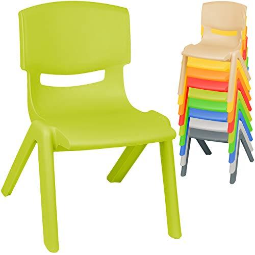 alles-meine.de GmbH Kinderstuhl / Stuhl - Farbwahl - bunter Farb-Mix - Plastik - bis 100 kg belastbar / kippsicher - für INNEN & AUßEN - 0 - 99 Jahre - stapelbar - Garten - Kinde..