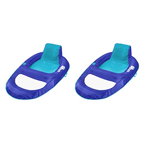 SwimWays Spring Float Recliner XL Floating Swimming Pool Lounger Chair for Adults, Blue (2 Pack)