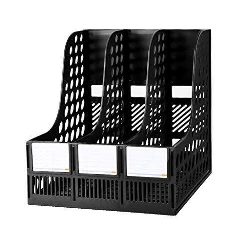 Schreibtisch Organisator/Ordner-Ablagesysteme Magazine Folder Stand Desktop Organizer Geeignet für Office-Schulfamilien Ablageboxen (Color : Black, Größe : Three columns)