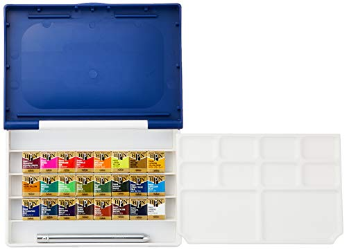 Holbein Artist's Watercolors Set of 24 Half-Pans with Brush (Palm Box Plus) PN697