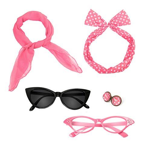 Retro 50's Costume Accessories Set Polka Dot Chiffon Scarf Cat Eye Glasses Bandana Tie Headband & Earrings for Girls Women Ladies Dress Up (Pink)