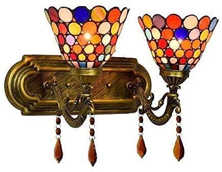 Moda lámpara de pared Bohemia Estilo Clásico Dormitorio Nightwand Luz Vidriera Moderno Hotel Bar Doble Cabeza Cristal Lámparas de Pared