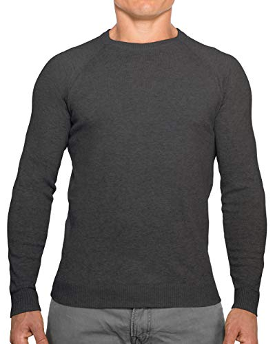 CC Perfect Slim Fit Crewneck Sweaters for Men | Lightweight Breathable Mens Sweater | Soft Fitted Pullover for Men Charcoal Gray
