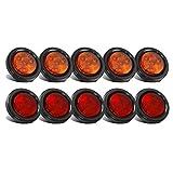 Partsam 10Pack(5 Amber + 5 Red) 2' Led Round Side Marker Light Grommet Flush Mount 4LED, Sealed 2 Round led Marker Lights Truck Trailer with Reflex Lens, IP67 Waterproof