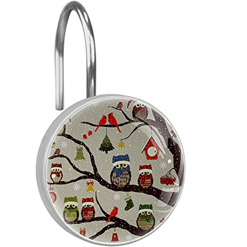 Rustproof Stainless Steel(12 PCS)Shower Curtain Hooks Shower Curtain Decorative hanger Rings,tree and christmas birds