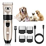 VASIVO Pet Dog Clippers, Dog Grooming Kit Low Noise Electric Pet Clippers Cordless Rechargeable Professional Dog Hair Clippers for Dogs Cats Pets