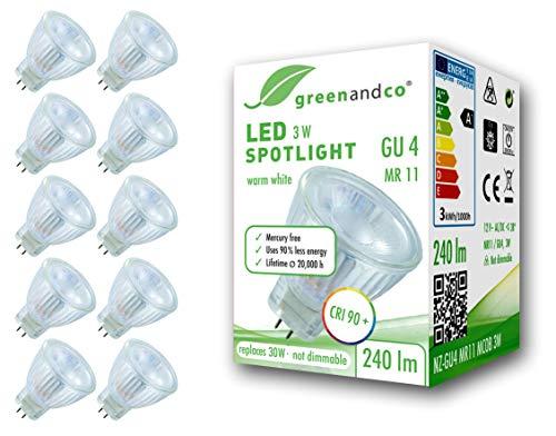 10x greenandco® CRI 90+ LED Spot ersetzt 30W GU4 MR11 Strahler, MCOB 3W 240lm 3000K warmweiß 38° 12V AC/DC flimmerfrei nicht dimmbar 2 Jahre Garantie