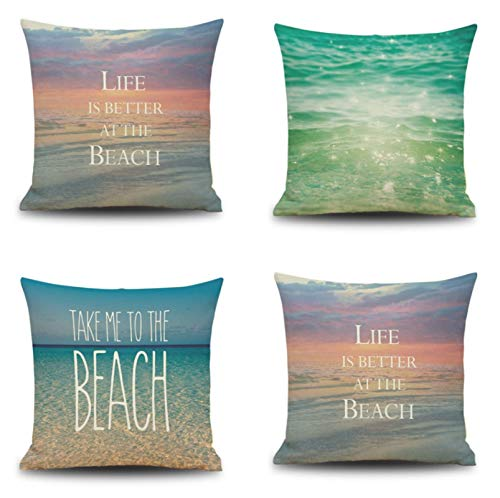 JgZATOA Beautiful Sea Cushion Cover Living Room Sofa Pillow Cases Bed Pillow Case Office Cushion 45 X 45Cm Set Of 4