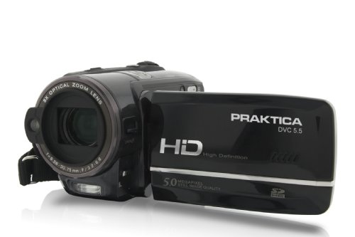 Praktica DVC 5.5 HDMI Full-HD 1080p Camcorder (SD/SDHC-Card, 5-Fach optischer Zoom, 7,6 cm (3 Zoll) Display, Foto Funktion mit 5 Megapixel) inkl. Tasche
