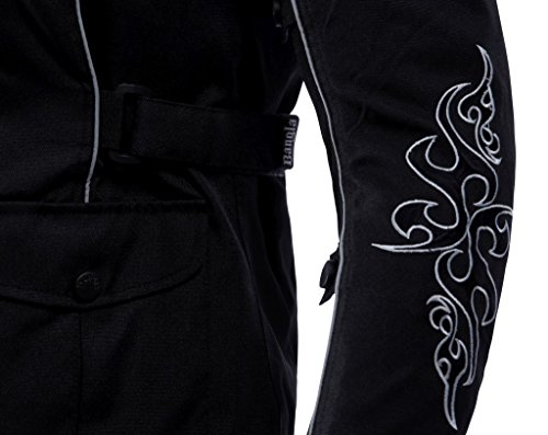1509 Bangla Damen Motorrad Jacke Bikerjacke Textil schwarz mit Tribalmuster Gr. S - 5