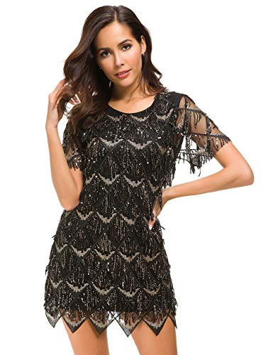 VVMCURVE Women's Sequin Fringe 1920 Short Prom Dress Sequins Art Deco Cocktail Gatsby Party Dress with Short Sleeve